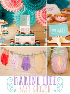 This marine life baby shower theme by @partyalamo is one to remember. From seahorse cookies to minty sea fresh place cards, this is o'fish'ly the cutest inspiration board.