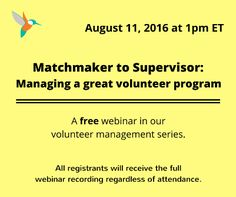 FREE WEBINAR: How to manage a great volunteer program