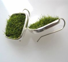 Lush Green Grass Silver Square Earrings by SeahagAndWalrus     WANT! these are such a great idea!