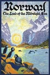 Pacifica Island Art Norway - The Land of The Midnight Sun - Norwegian Fjord with Atlantic Puffins - Vintage World Travel Poster by Ben Blessum - x Vintage Tin Sign Vintage Travel Posters, Vintage Ads, Retro Posters, Vintage Ephemera, Land Of Midnight Sun, Poster Wall, Poster Prints, Norway Travel, Plan Your Trip