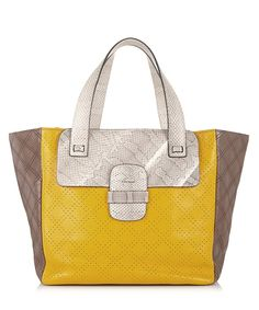 Fancy and funny hand bag. Yellow two-tone snake-print leather bag by Marc Jacobs on secretsales.com