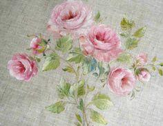 Peinture de roses sur lin peinture originale à par FrenchDecoChic
