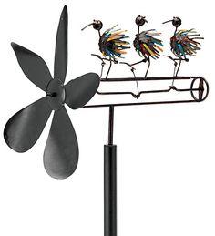 Handcrafted Spikey Bird Whirligig Wind Spinner
