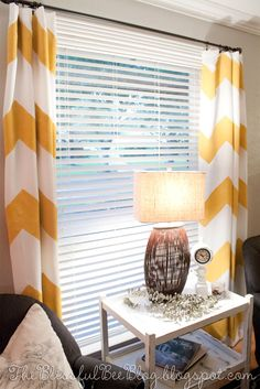 "DIY Painted Chevron Curtains - 2"" blinds on the window--  white with grey for living room"