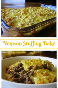 Venison Stuffing Bake: Fried ground venison burger and onions covered with stuff… Venison Stuffing Bake: Fried ground venison burger and onions covered with stuffing and cream of chicken soup and baked until golden. Did someone say comfort food? Deer Meat Recipes Ground, Deer Burger Recipes, Ground Venison Recipes, Elk Recipes, Cooking Recipes, Game Recipes, Easy Venison Recipes, Recipes With Venison Hamburger, Cooking Games
