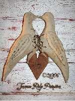 Primitive Grungy Valentines Love Birds & Heart Door Hanger Pattern $10.50