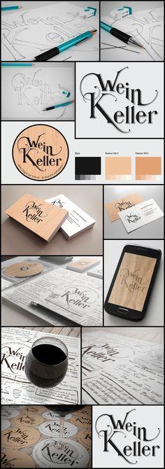 Wein Keller - amazing hand-drawn logo and branding! Typography Logo, Logos, Logo Branding, Brand Identity Design, Graphic Design Branding, Hand Drawn Logo, Hand Lettering, Bussiness Card, Word Design