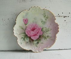 Vintage ROSE Plate Hand Painted Porcelain