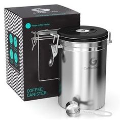 Coffee Gator Stainless Steel Container - Fresher Beans and Grounds for Longer - Canister with. - Coffee Gator Stainless Steel Container – Fresher Beans and Grounds for Longer – Canister with D - # Coffee Storage Containers, Coffee Container, Storage Canisters, Kitchen Canisters, Food Storage, Kitchen Appliances, Small Appliances, Coffee Canister, Coffee Cups