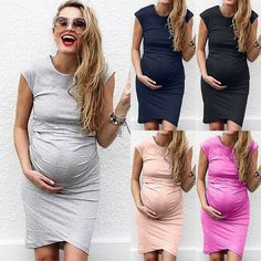 8a01f26f2f3 Plus Size Women Pregnant Sleeveless Casual Maternity Stretch Mini Bodycon  Dress - Maternity Dresses - Trending