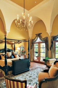 Mediterranean Neutral Bedroom - luxesource.com drape / window treatment for arch resign