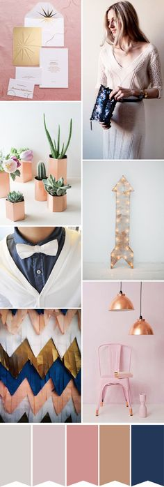 A modern copper, pink and gold wedding color palette | www.onefabday.com