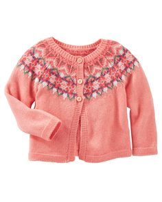 Baby Girl Fair Isle Cardi | OshKosh.com