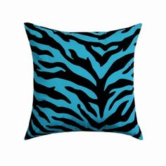 Blue Zebra Square Pillow -  Visit our website at www.crystalcreekdecor.com for more sizes and selections on Safari Decor at great prices!  Also be sure to join our mailing list for upcoming offers, new products and special package deals.