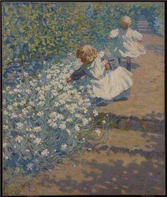 Helen Galloway McNicoll. Picking Flowers, c. 1912. Oil on canvas. Gift of R. Fraser Elliott, Toronto, in memory of Betty Ann Elliott, 1992. Image © 2017 Art Gallery of Ontario