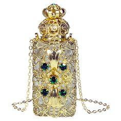 Emerald Filigree Perfume Bottle Necklace |  Collier de bouteille de parfum