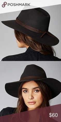 BRIXTON Perkins Fedora NWT. Gorgeous washed black hat with a genuine leather band. Size medium (hat size 7 1/4, 22.8 inches). Perfect condition. Brixton Accessories Hats