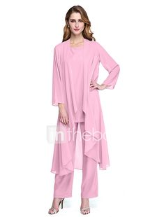 Two Piece / Pantsuit / Jumpsuit Jewel Neck Ankle Length Chiffon Mother of the Bride Dress with Ruching by LAN TING Express / Wrap Included 2019 - € Evening Dresses Online, Cheap Evening Dresses, Elegant Dresses, Dresses For Sale, Mother Of The Bride Dresses Long, Bride Groom Dress, Beaded Lace, Jacket Dress, Chiffon Dress