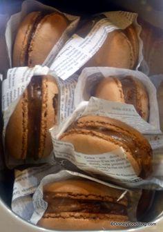 Chocolate Macaron Sandwich in case at #DisneyWorld