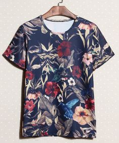 Slimming Trendy Round Neck Retro Colorful Flowers Print Short Sleeve Cotton T-shirt For Men, AS THE PICTURE, M in T-Shirts & Vests | DressLi...