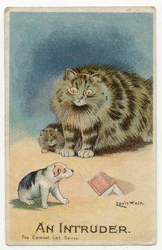 An Intruder - Comical Cat Series | Louis Wain