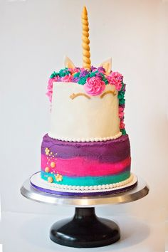 Unicorn Cakes, Unicorn Party, Birthday Party Themes, Birthday Cake, Rainbow, Desserts, Food, Party, Tailgate Desserts