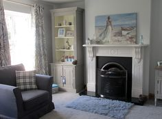 My living room is now taking shape. I have been talking about it for a long time now. I was on the look out for an over mantle mirror for my. My Living Room, Living Room Decor, Living Spaces, Grey And White, Blue Grey, Mantle Mirror, Traditional Decor, Home Reno, Minimalist Decor