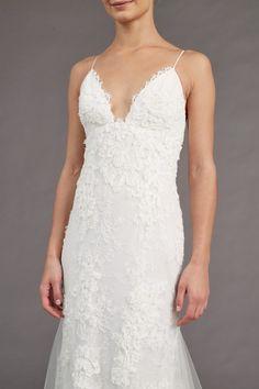 Lace Wedding Dress: Ivory V Neck Lace Gown - Amsale Wedding Gown = Kalel