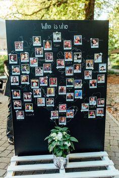"""Der etwas andere Sitzplan für die Hochzeit ++ Unsere """"Who is who-Wand"""", an der Polaroids von allen Gästen - mit Namen und Erklärung - hingen. Außerdem diente sie durch die Linien, die die Fotos verbinden, als Tischplan. Ich wollte mal was anderes und fand die Idee, dass die Gäste so schon etwas übereinander erfahren, sehr schön. Diese tolle Tafelwand könnt ihr natürlich bei mir leihen ➡ https://www.yayday-design.de/m%C3%B6bel/tafeln"""
