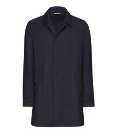 ERMENEGILDO ZEGNA:Manteau LongSerge de laine Uni Col Classique PoigneNoir41616750TO