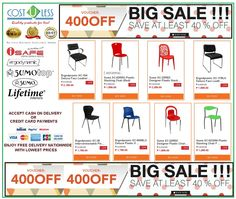 Get the Biggest Sale on our STACKING CHAIRS @ Lazada Shop Online - Wednesday Promo! Valid Today Only! Save 400.00 With A Minimum Purchase of 5,000.00. Use Voucher Code:400OFF Free Delivery! Credit Card Payments Accepted & Cash On Delivery!  http://www.lazada.com.ph/catalog/?q=stacking+chairs