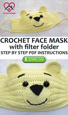Crochet Mask, Crochet Faces, Crochet Beanie Pattern, Easy Crochet Patterns, Crochet Gifts, Cute Crochet, Crochet Stitches, Knitting Patterns, Crochet Teddy
