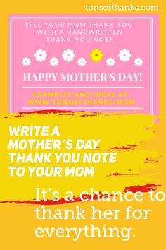 I encourage you to write your mom a mother's day thank-you note for Mother's Day. Includes ideas and examples. Thank You Note Wording, Thank You Mom, Thank You Notes, 31 Day Challenge, Writing Challenge, Email Subject Lines, Manners, Etiquette, Take Care Of Yourself