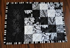 Modern black and white quilted and embroidered mugrug, placemat, table decor, fabric mat Lap Quilts, Mini Quilts, Quilt Blocks, Mug Rug Patterns, Placemat Patterns, Quilting Projects, Sewing Projects, Quilted Coasters, White Christmas Ornaments