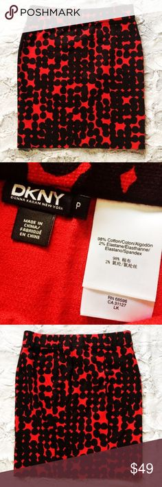 DKNY red and black printed stretchy pencil skirt Make an offer! Size P for DKNY is equivalent to an XS or size 0-2. Has an elastic waistband and some stretch. No trades. Bundle and save - I'm a fast shipper!  Item 42 Inventory: R1 Dkny Skirts Pencil