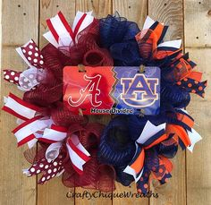 Items similar to House Divided Wreath; Any Team Available on Etsy Christmas Candy, Christmas Wreaths, House Divided Wreath, Alabama Wreaths, Candyland, 4th Of July Wreath, Handmade Gifts, Diy, Crafts