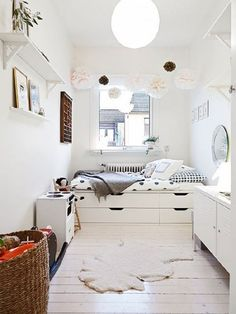 IKEA Stolmen: Hack A Storage Bed - 30 Small-Space Hacks you've never seen be. - Ikea DIY - The best IKEA hacks all in one place Bedroom Inspirations, Home Bedroom, Bedroom Design, Bedroom Decor, Platform Bed With Storage, Bed Storage, Mommo Design, Home Decor, Small Bedroom