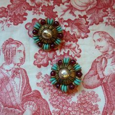Vintage Miriam Haskell Clip-on Earrings - Valentine Gift - Faux Pearl, Red Glass, Turquoise Glass, Brass - Boho, Midcentury Chic