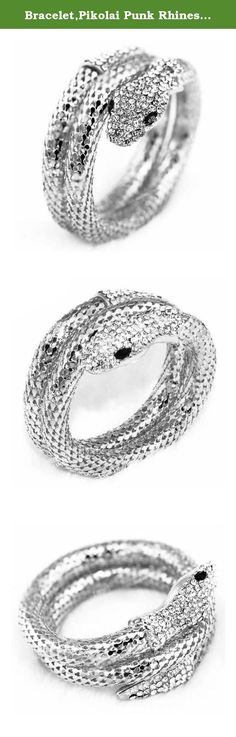 Bracelet,Pikolai Punk Rhinestone Curved Stretch Snake Cuff Bangle Bracelet (Silver). Vintage Retro Punk Rhinestone Curved Stretch Snake Cuff Bangle Bracelet Feature: 100% brand new and high quality. Quantity: 1 Gender: Women, Girl Material:Alloy+Rhinestone Size:Adjustable Color:Gold,Sliver Nice accessories to integrate jewelry case for girls and collectors Match with suitable apparel for different occasion Wonderful gift for you and your female friends Catch this beautiful accessories for...