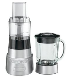 Cuisinart BFP-603 SmartPower Deluxe Blender and Food Processor High-performance 600-watt motor with die-cast metal housing with stainless steel collar. 3-Cup food processor attachment with feed tube and pusher, slicer and shredder disk and stainless steel chopper blade. Sleek 4-speed electronic touchpad controls with blue indicators: high, low, pulse and Ice crush controls. Standby mode; automatic... #Cuisinart #Kitchen