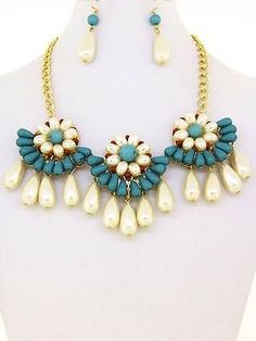 Chunky Bib Pearl Charm Gold Chain Necklace Earring Set Fashion Costume Jewelry