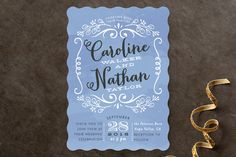 """""""Sweet Name Frame"""" - Vintage Wedding Invitations in Carnation by Alethea and Ruth."""