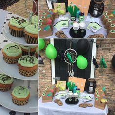 """Het """"wie is de Mol"""" feestje wat een groot succes. Hier de aankleding van de tuin en de cupcakes"""