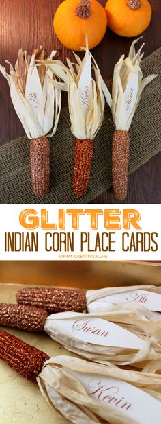 Thanksgiving will sparkle with these Glitter Indian Corn Place Cards Thanksgiving Place Cards, Thanksgiving Traditions, Thanksgiving Table Settings, Thanksgiving Decorations, Thanksgiving Ideas, Fall Crafts, Holiday Crafts, Holiday Ideas, Autumn Ideas