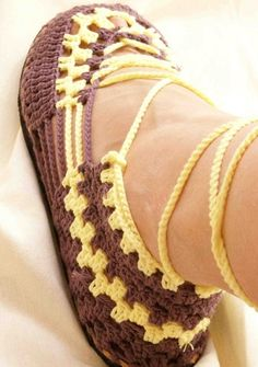 Photo of crocheted sandal - not sure where to find the instructions, but it's an idea for future projects.