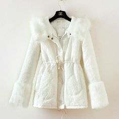 Exquisite Lace Tight Waist Fur Collar Cotton Coat White Fur Collars, Get The Look, Fur Coat, Tights, Blazer, Cotton, Jackets, Shopping, Fashion
