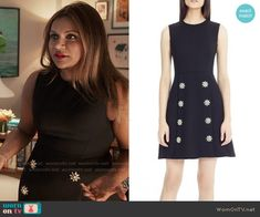 Mindy's navy dress with crystal flower buttons on The Mindy Project.  Outfit Details: https://wornontv.net/57499/ #TheMindyProject  Buy it at Nordstrom: http://wornon.tv/35962