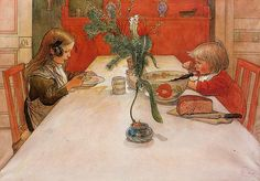 oldpainting: 1905 Carl Larsson (Swedish, 1853-1919) ~ Evening Meal on Flickr; Click image for 1130x786 size