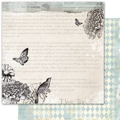 MN56- Mother Nature 12x12 Cardstock - Flutterby