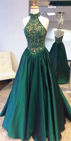 Elegant Halter Sweep Train Hunter Prom Dress with Lace Beading, Emerald Green Prom Dress, Prom Party Dress, Long Prom Dress